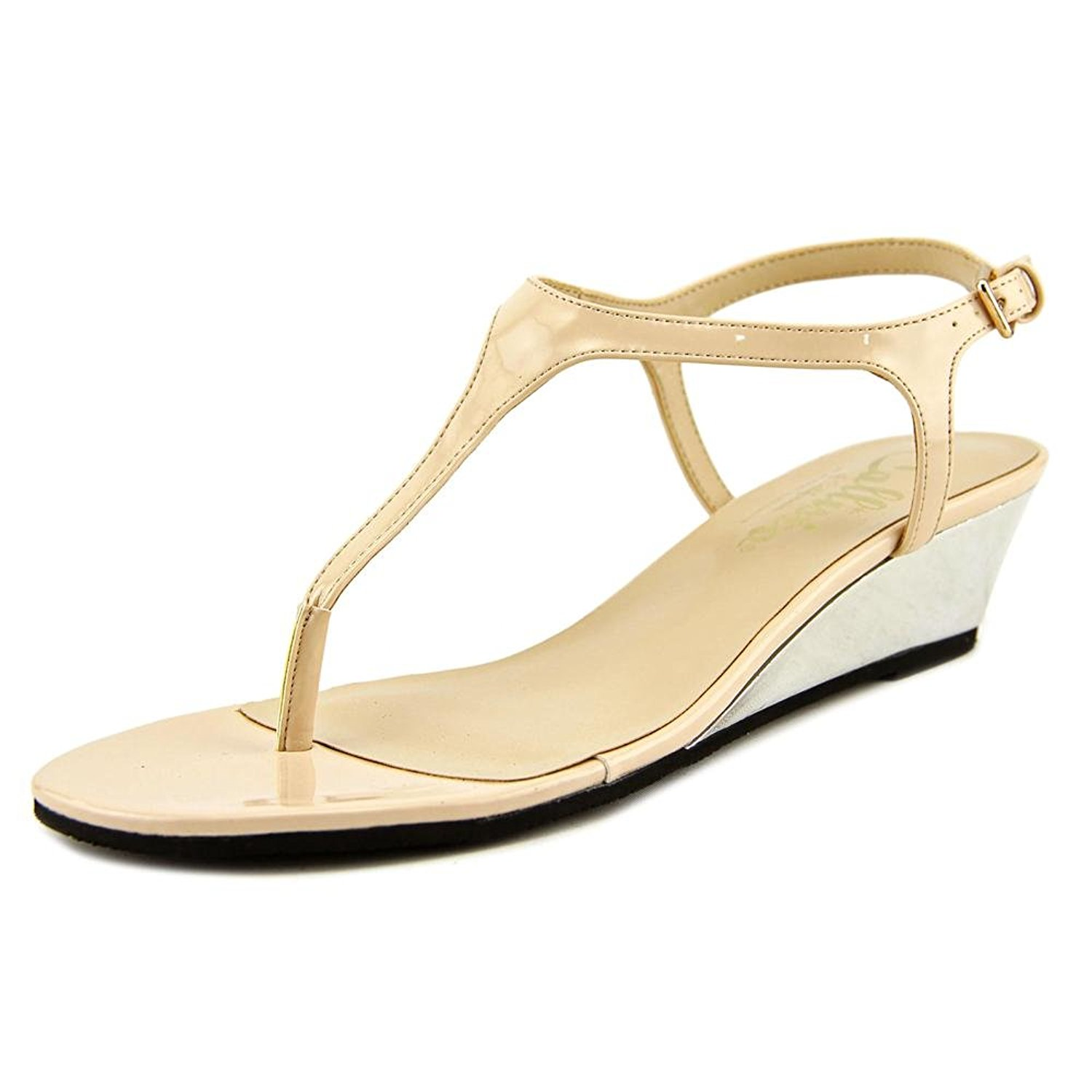 Callisto Womens Spring Open Toe Casual Ankle Strap, Nude Patent, Size 8.0