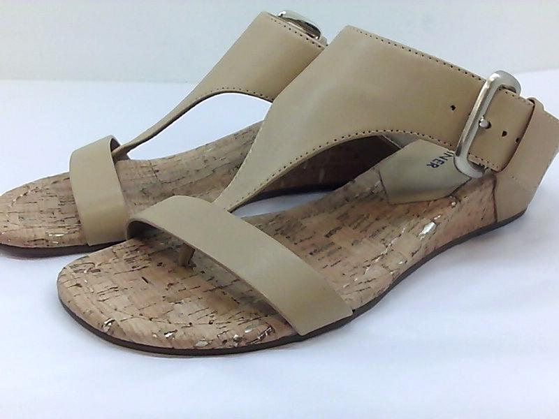 Jimmy Choo Portia Nude Leather Cork Wedge Sandals 38 For