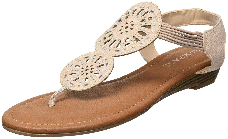 ed6f2440c14b0 Rampage Women s Candia Slingback Elastic Strap Low Wedge Sandal