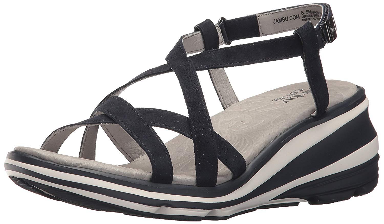 Jambu femmes Ginger Leather Open Toe Casual Slingback Sandals