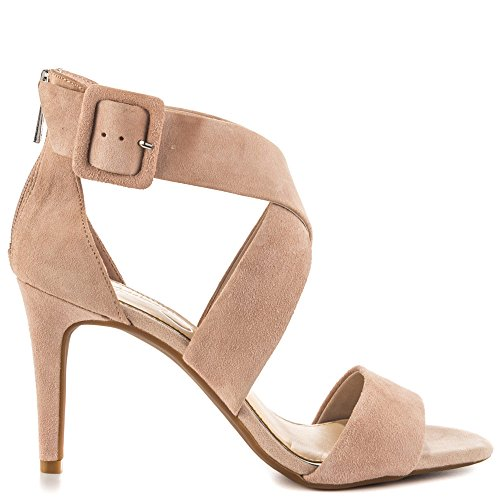 Jessica Simpson Womens Liddy Suede Open Toe Casual Ankle Strap Beige Size 95