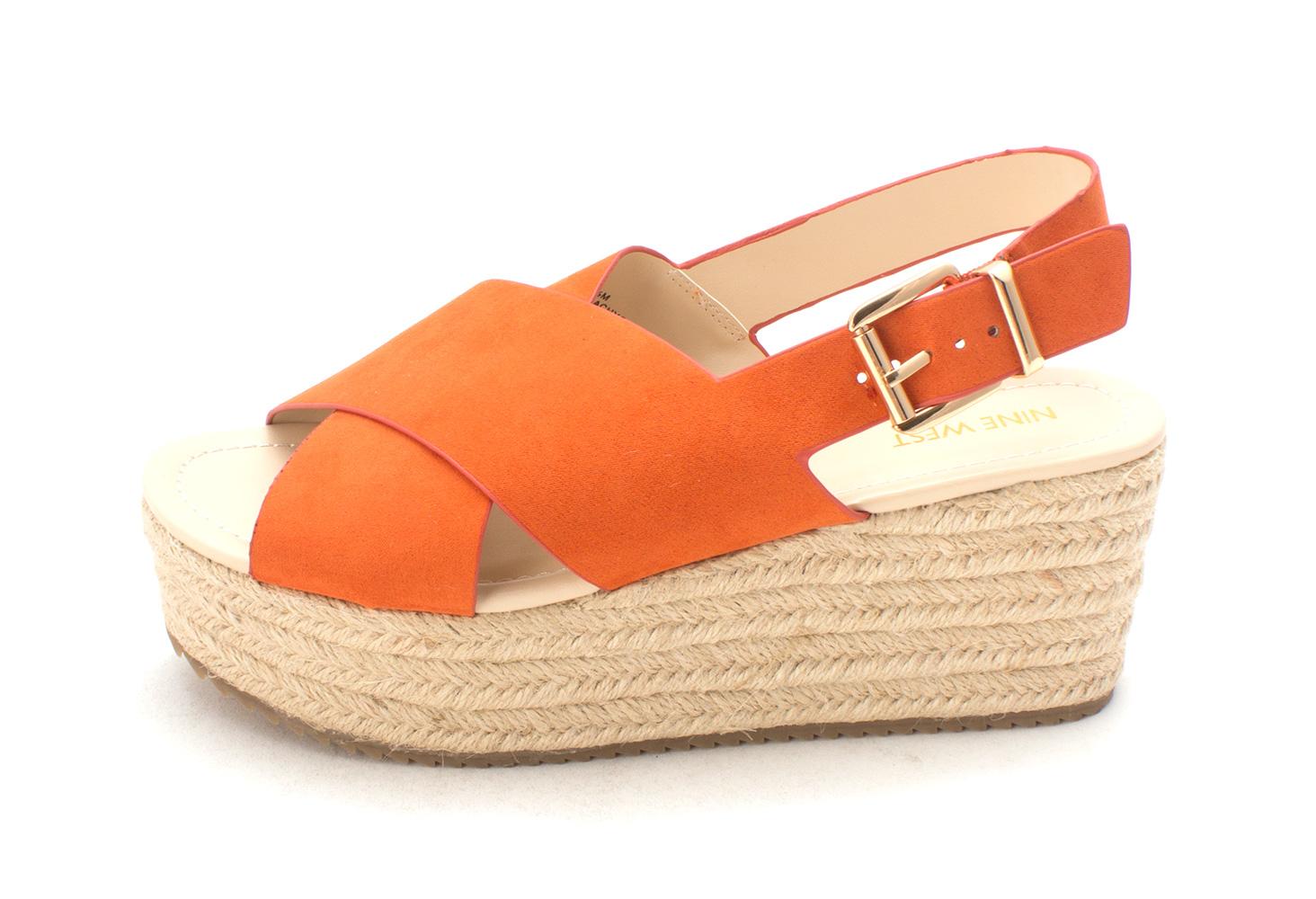 Nine West Womens beachygd Open Toe Casual Platform Sandals Orange fb Size 85