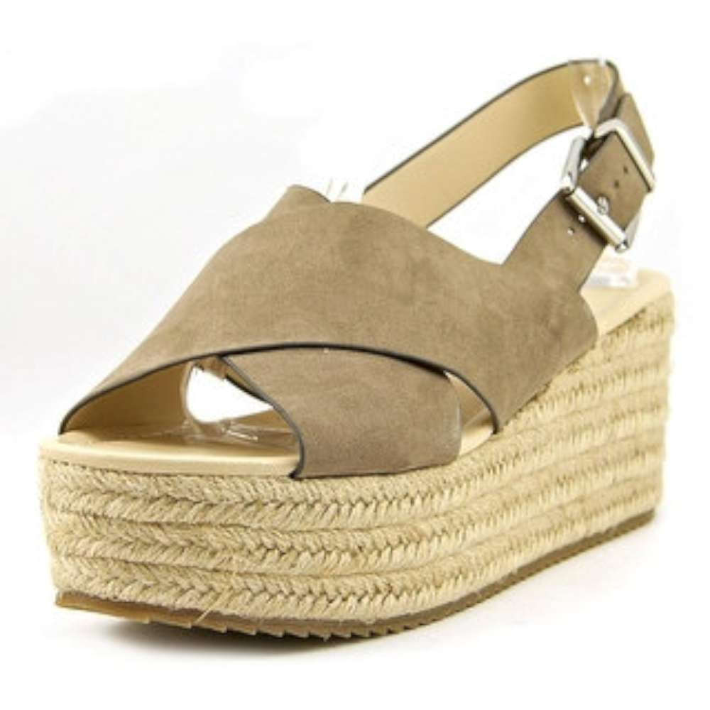 Nine West Womens beachygd Open Toe Casual Platform Sandals taupe fd Size 85