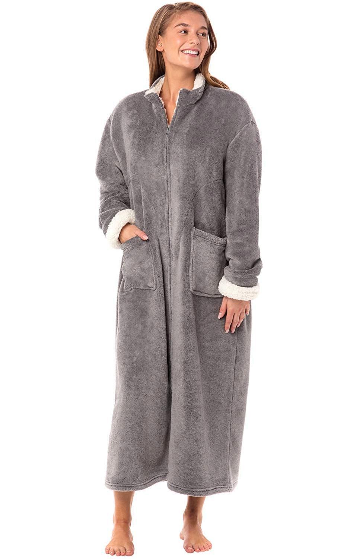 Alexander Del Rossa Women's Zip Up Fleece Robe,, Steel Grey,
