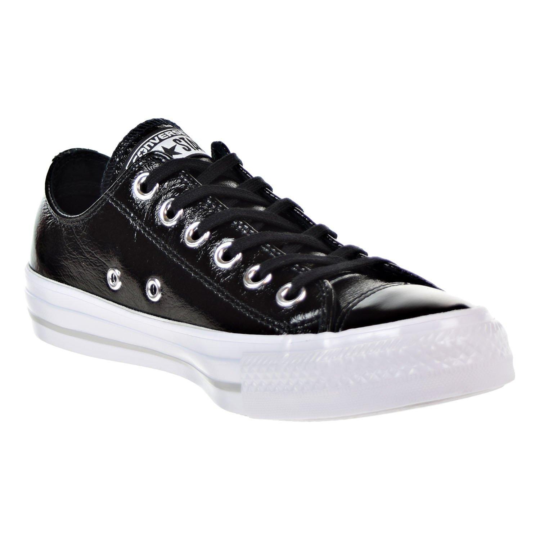 Converse Women s Chuck Taylor Ox Patent Casual Sneakers Black White Size  8.0 j 942d86536eb