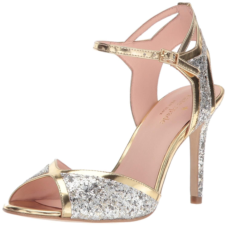 0e2a1247683f Kate Spade New York Women's Oak Heeled Sandal, Silver/Gold, Size ...