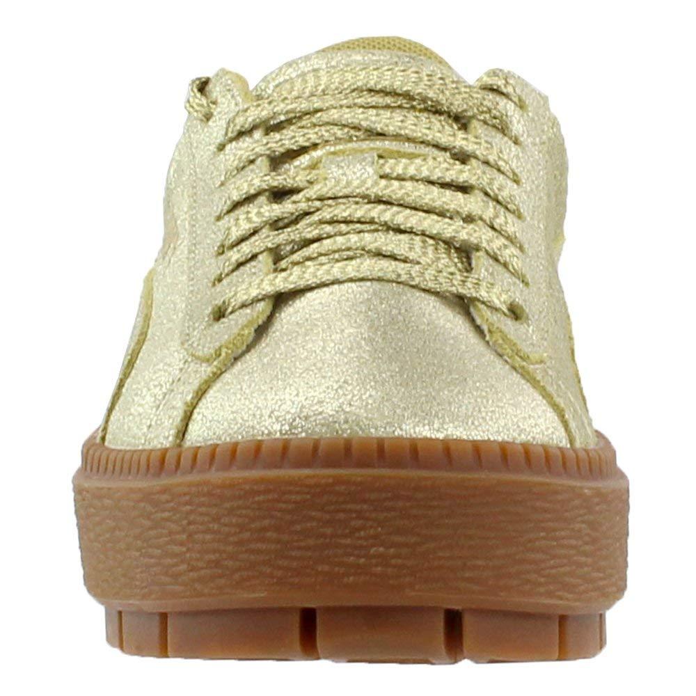 timeless design 727f9 eebec Details about PUMA Women's Basket Platform Trace Sneakers, Metallic Gold,  Size 7.5