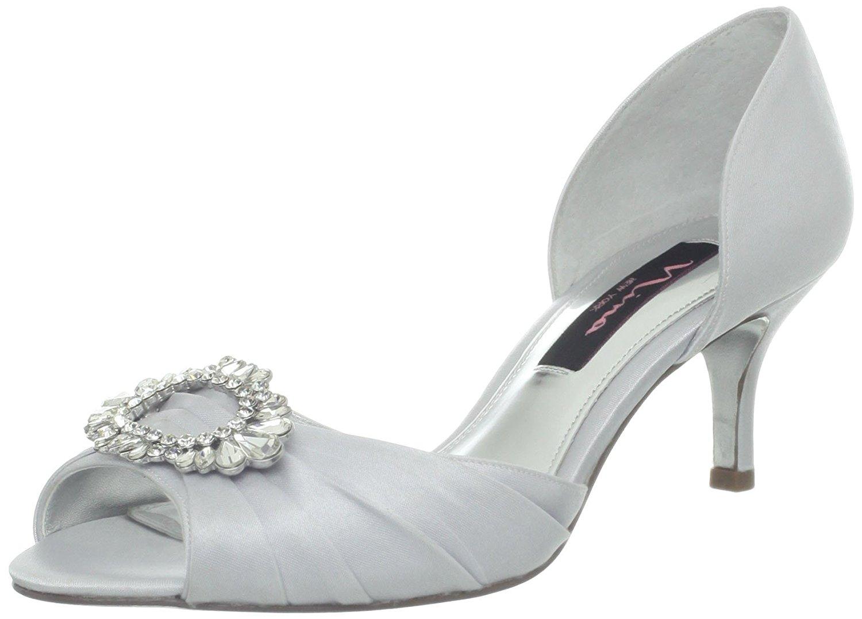 Nina Womens Crystah Peep Toe Dorsay Pumps Silver Royal Size 7.0