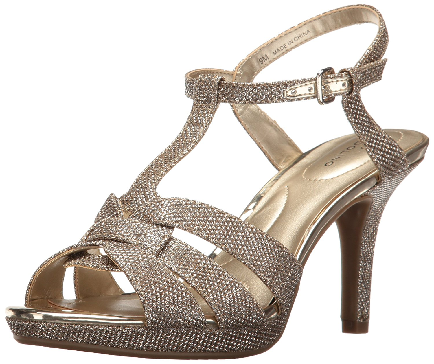 Bandolino Womens Sarhai Open Toe Casual Ankle Strap Gold Glamour Size 90