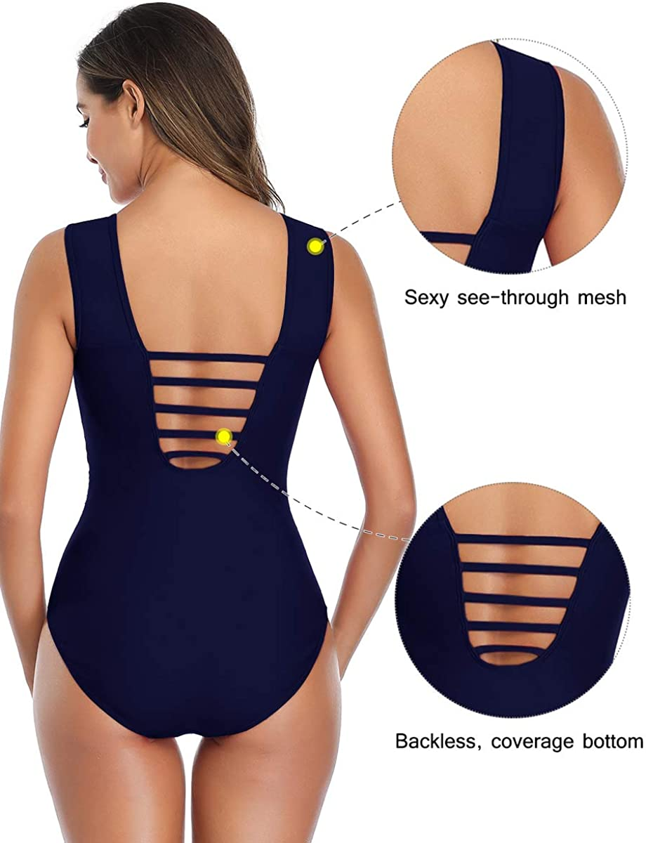 Summer Mae Women Mesh One Piece Swimsuit High Neck Tummy Control Ruched Slimming Bathing Suit