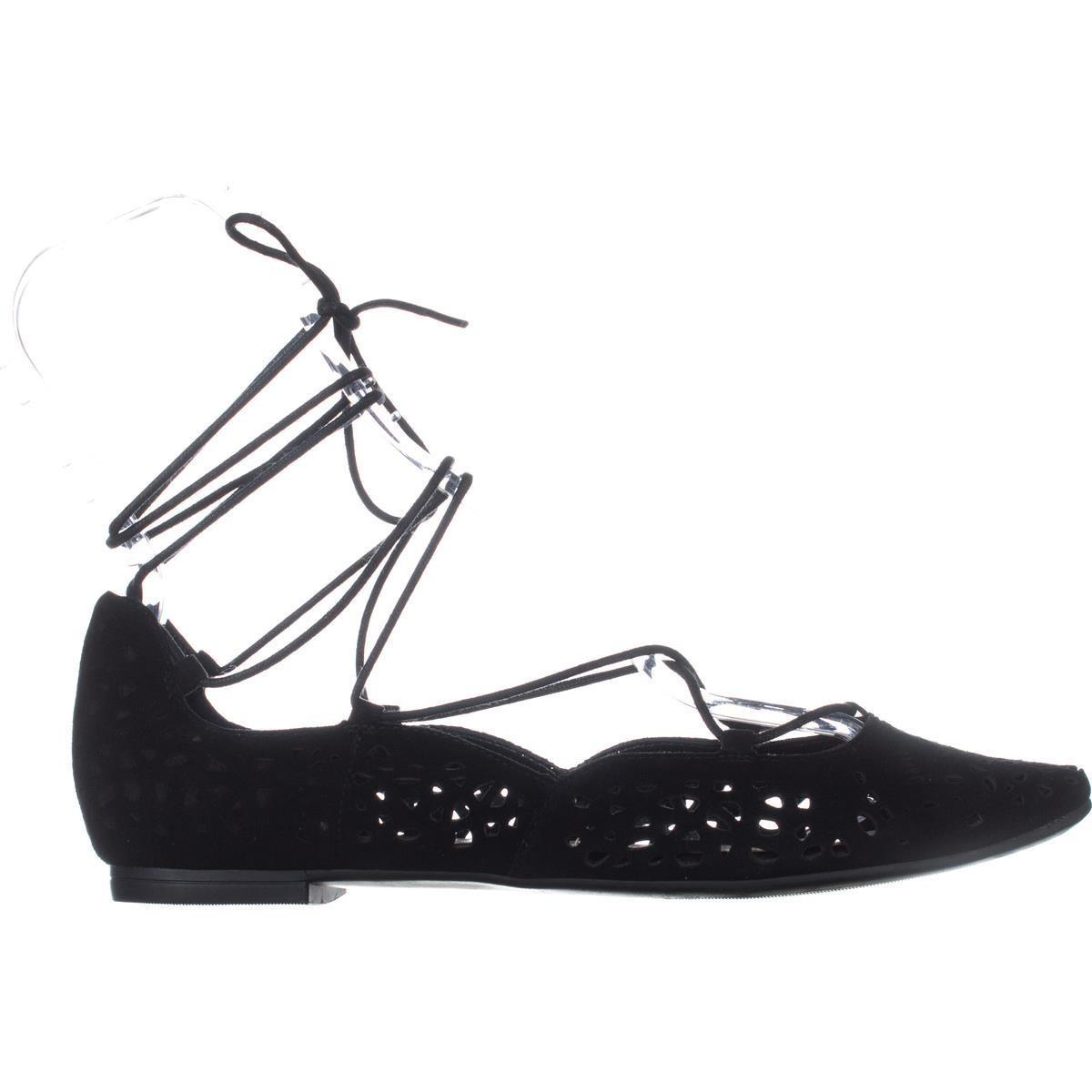 Nine West Damenschuhe Zavanna Leder Ankle Almond Toe Ankle Leder Wrap Ballet Flats ... 438c5a