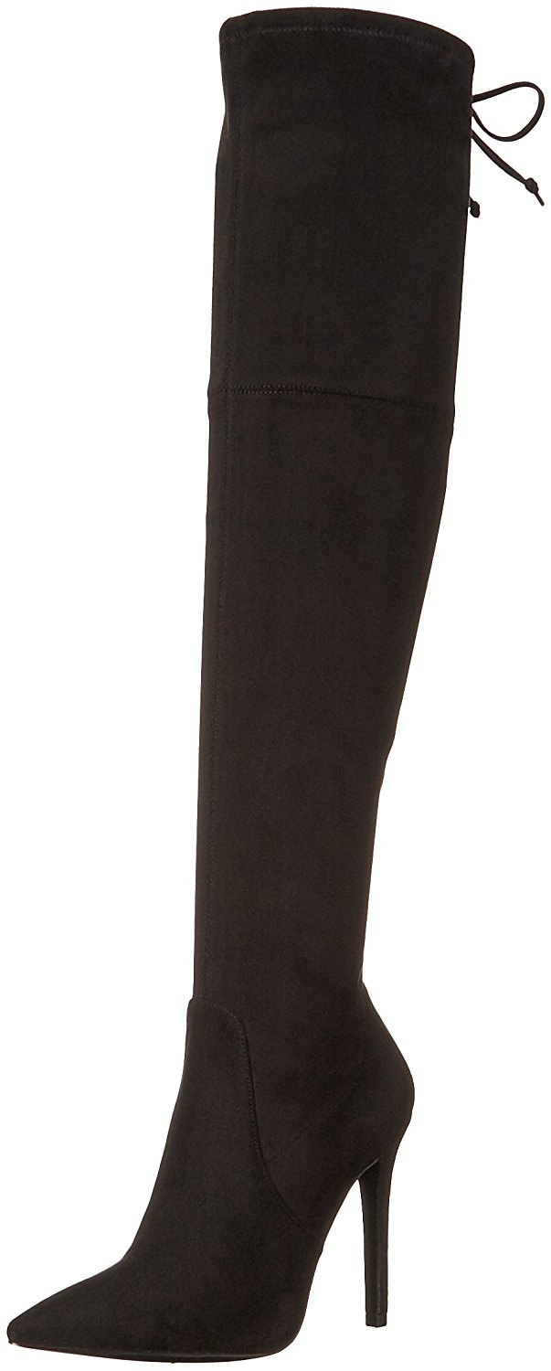 GUESS Womens Akera Pointed Toe Over Knee Fashion Boots Black Size 9.5