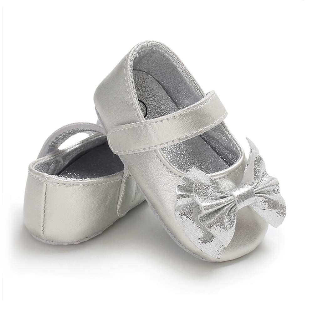 07090cf7e8ac Details about Baby Girls Mary Jane Flats Sparkly Princess Dress, A-silver,  Size Infant 0.0