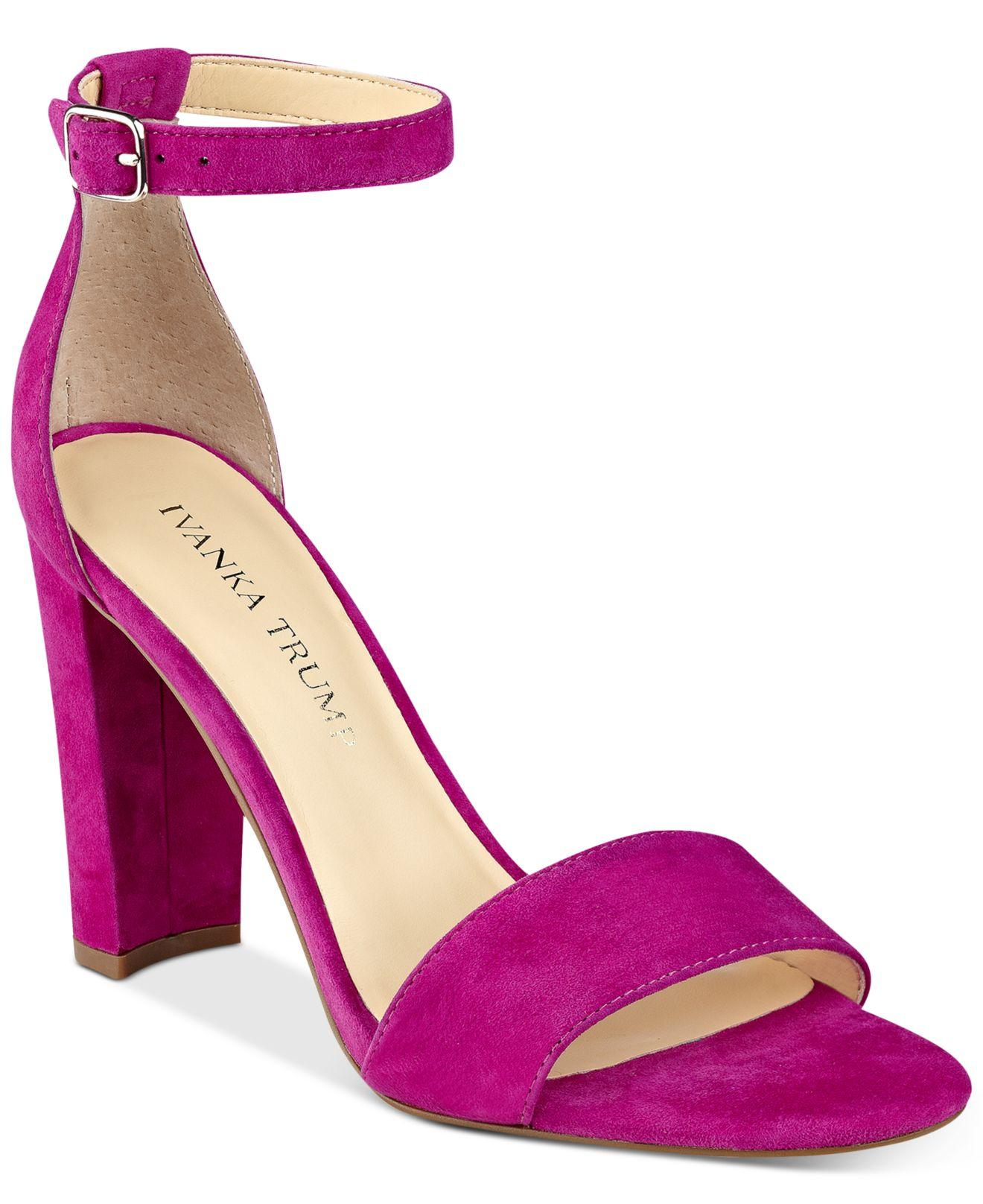 Ivanka Trump Womens Emalyn Leather Open Toe Formal Ankle Strap Pink Size 85 F
