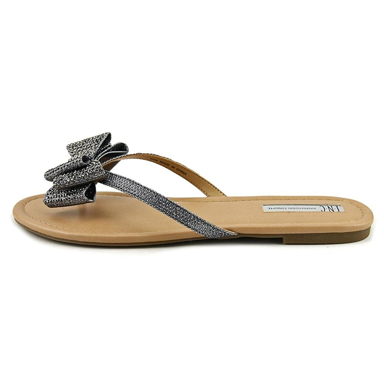 INC International Concepts Womens Mabae Canvas Open Toe Beach pewter Size 60