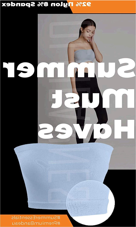 OA Womens 8 Inch Seamless Non-Padded Bandeau Tube Top Bra