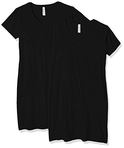 AquaGuard Womens Fine Jersey V-Neck Longer Length T-Shirt-2 Pack