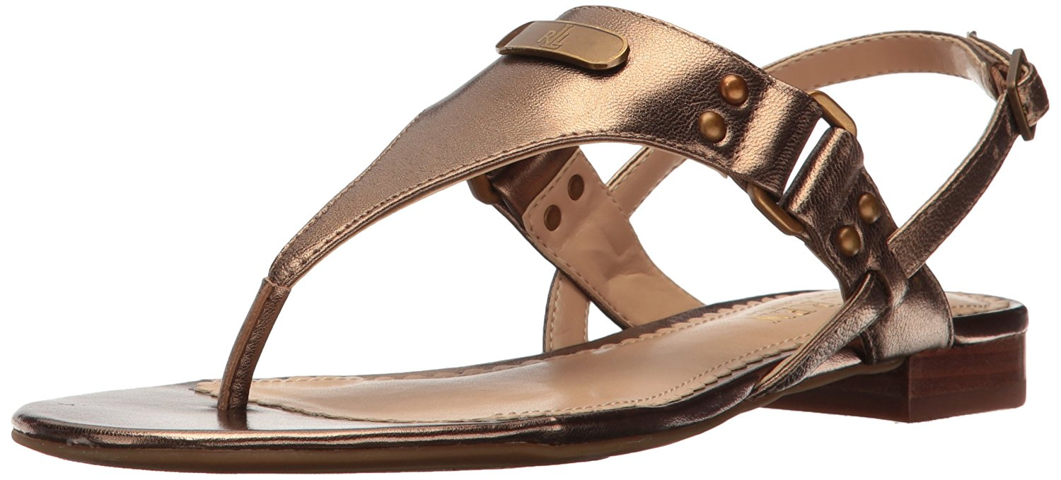 LAUREN by Ralph Lauren Womens Valinda Leather Open Toe Casual Gold Size 55