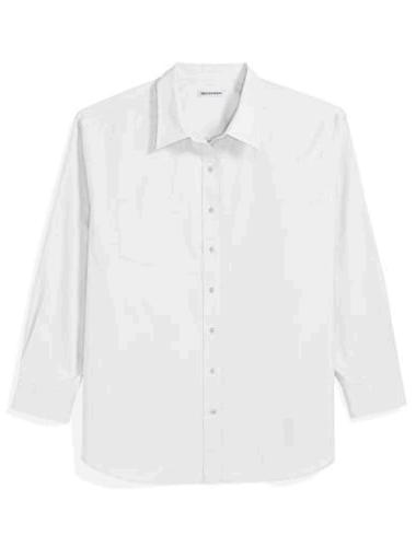 Essentials Men's Big and Tall Long-Sleeve Solid Shirt,, Whit