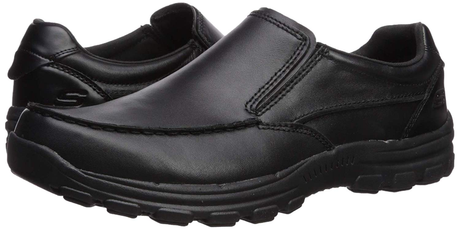 Mens Skechers Relaxed Fit Braver Rayland Black Smooth Leather Slip On Shoes New
