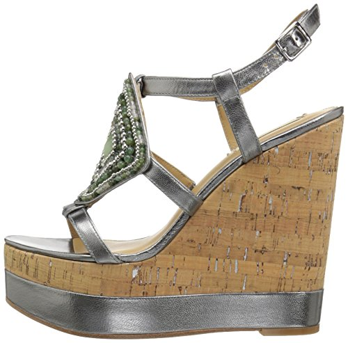 LAUREN by Ralph Lauren Womens Mattie Open Toe Casual Platform Silver Size 60