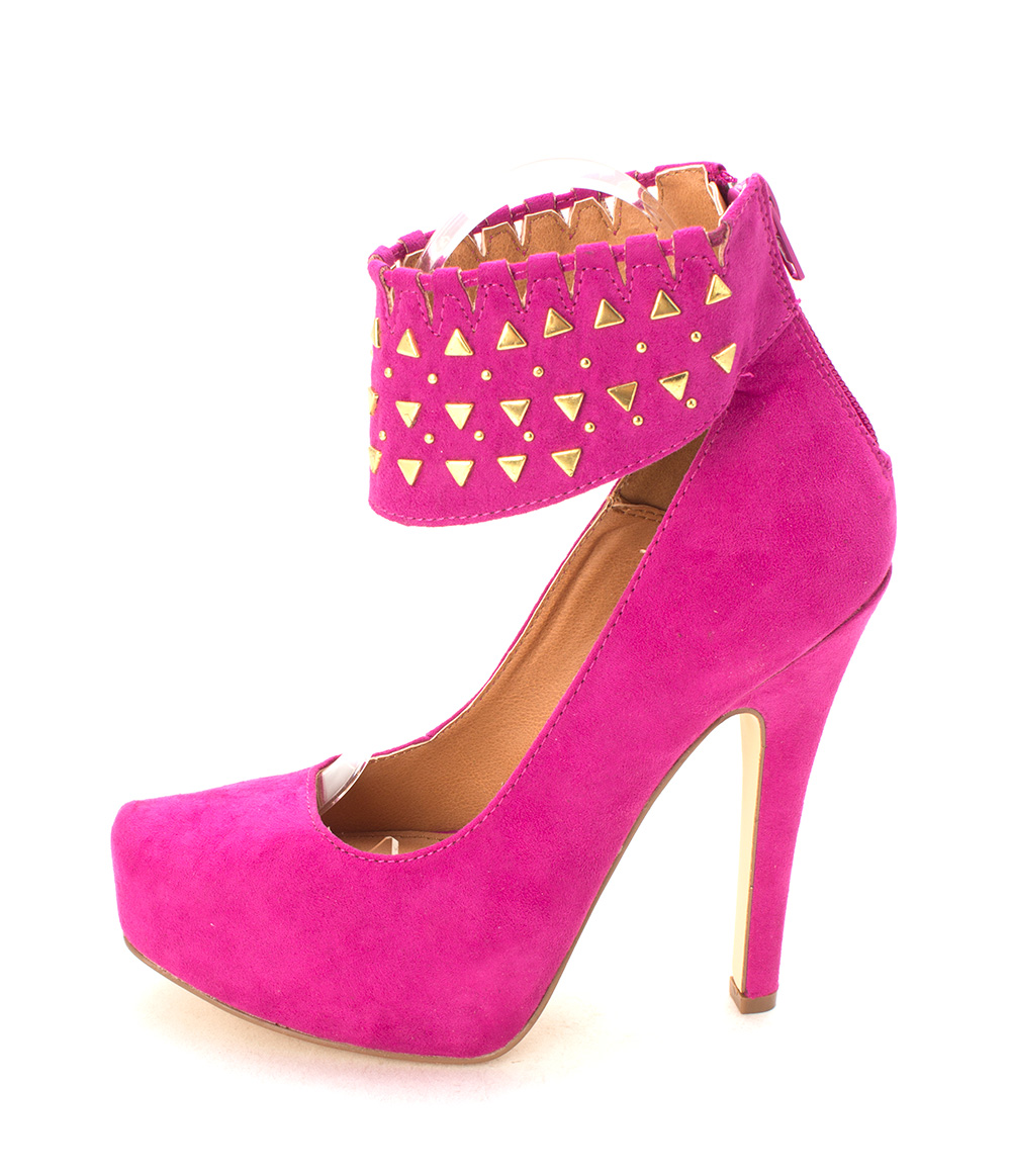 ShoeDazzle Womens Sakina Closed Toe Ankle Strap Platform Fuchsia Size 6.0
