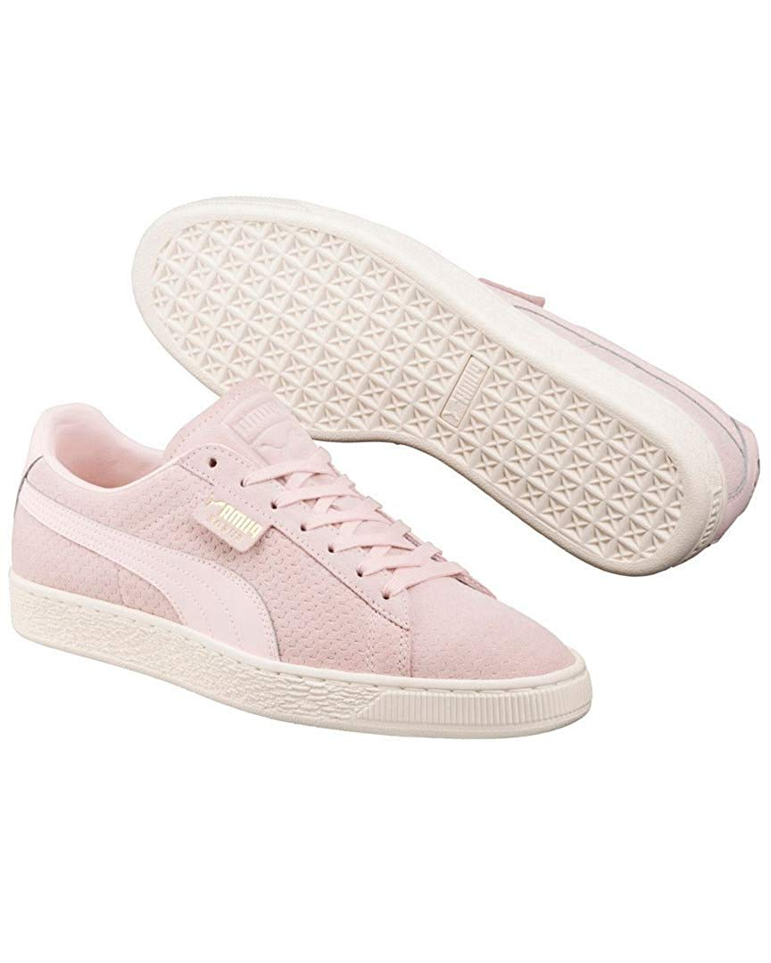 2ada2f42c38 PUMA Suede Classic Perforation Mens Pink Suede Lace Up Sneakers Shoes