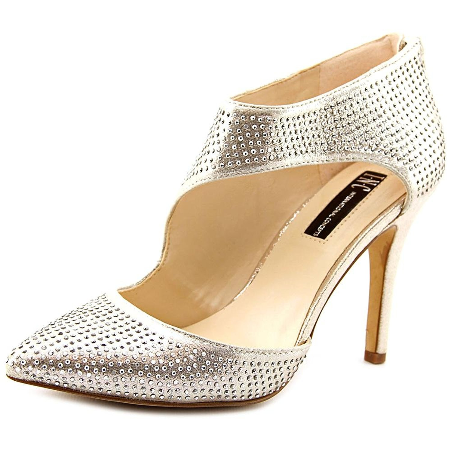 INC International Concepts Womens ZIZI Suede Pointed Toe Pearl Gold Size 8.5 W