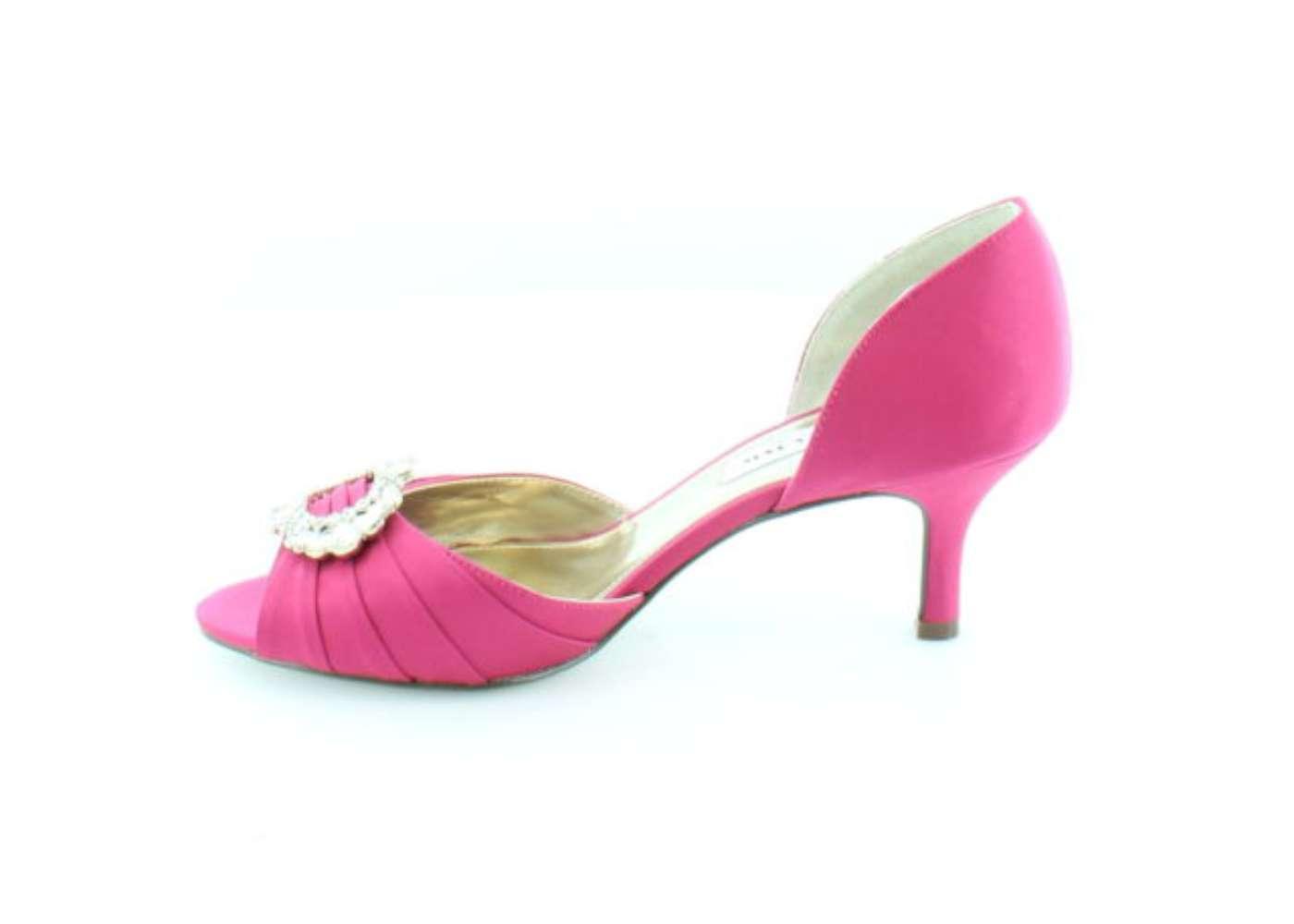 Nina Womens CRYSTAHLS Satin Open Toe Dorsay Pumps BERRY/LUSTER SA Size 7.5