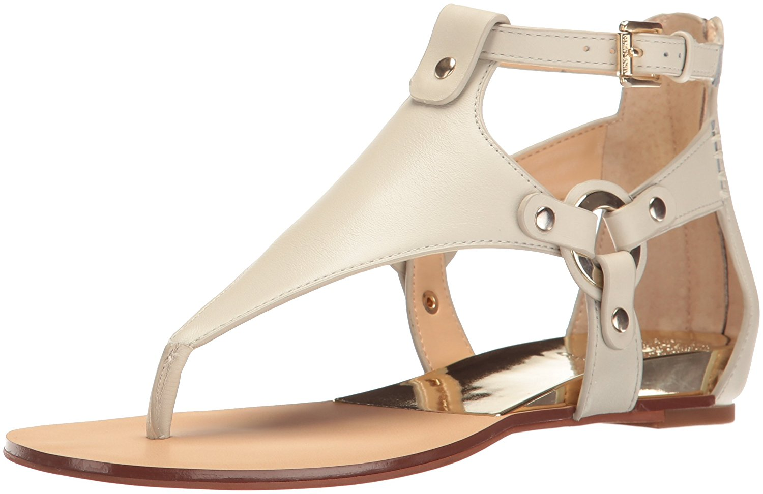 Vince Camuto Womens Averie Leather Split Toe Casual TStrap Off White Size 75