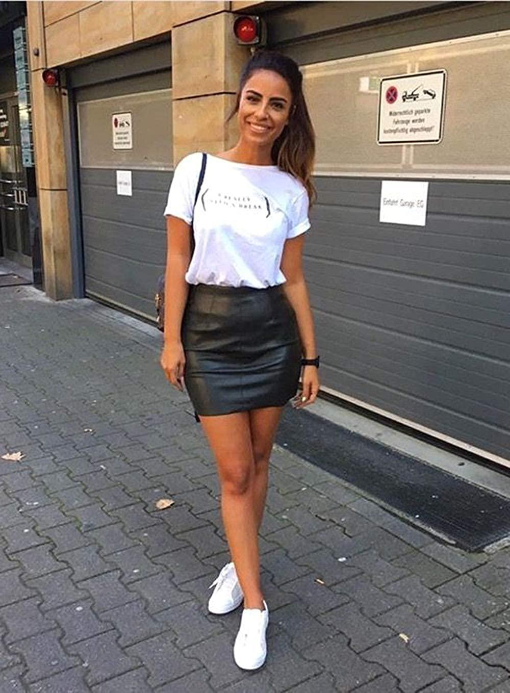 Zeagoo Women Classic High Waisted Faux Leather Bodycon Slim Mini Pencil Skirt