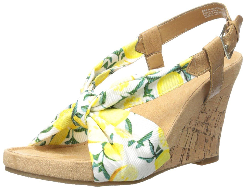 685d0f8950b1 Aerosoles Womens Plush Pillow Canvas Open Toe Ankle Strap Wedge Pumps