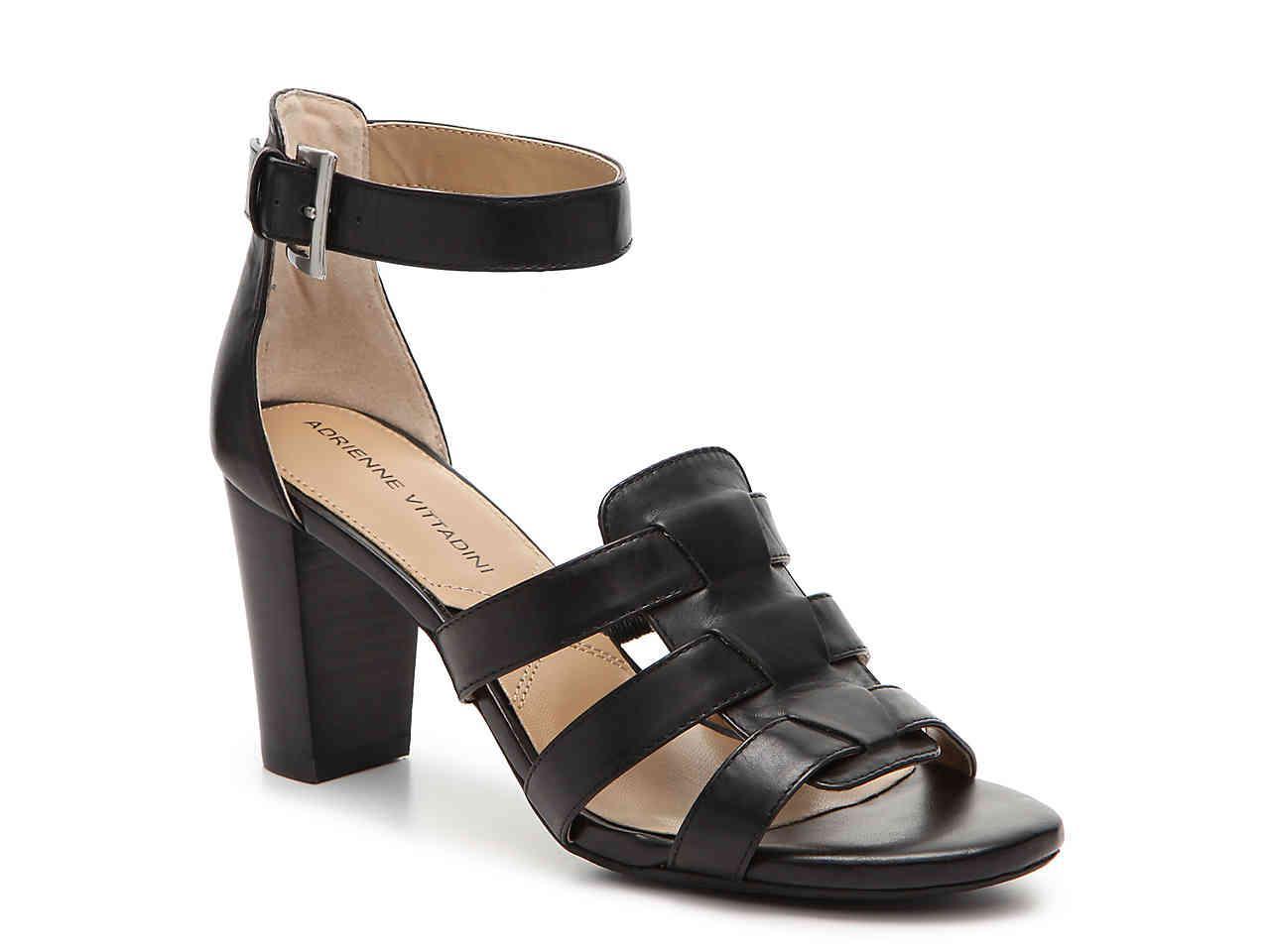 Adrienne Vittadini Womens belinda Leather Open Toe Casual Black Size 60