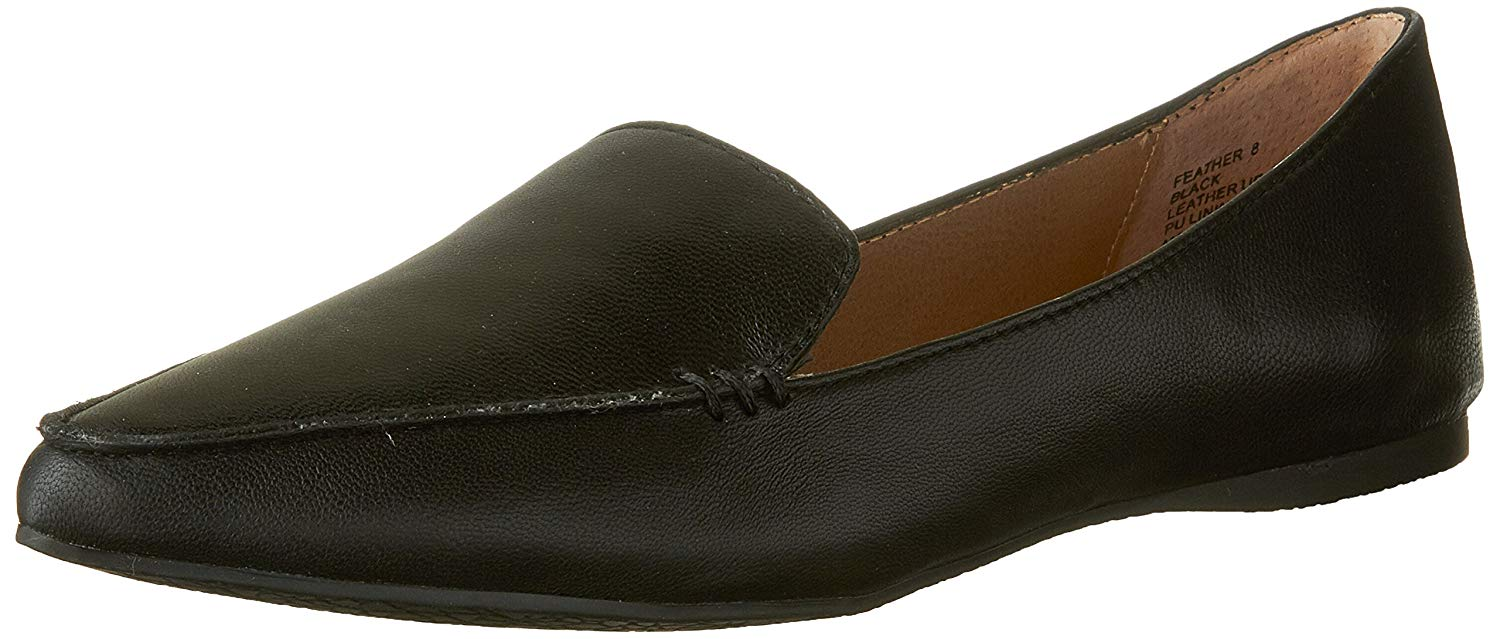 36ee233b897 Details about Steve Madden Women's Feather Loafer Flat, Black Leather, Size  6.5 GWfU