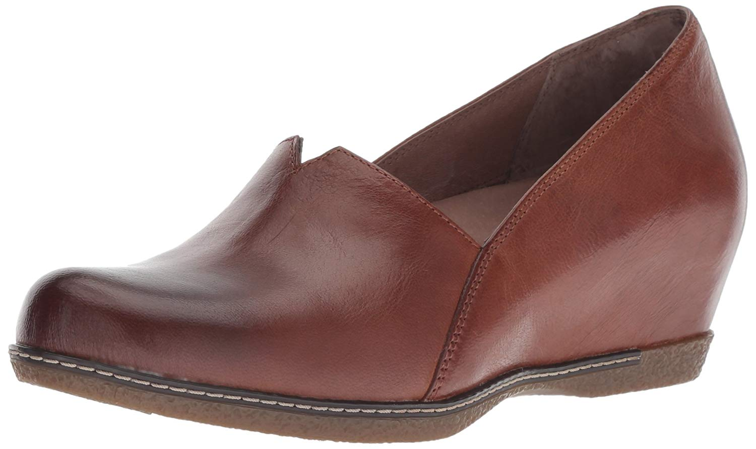 Dansko Womens Liliana Burnished Nubuck Leather Cap Toe Wedge
