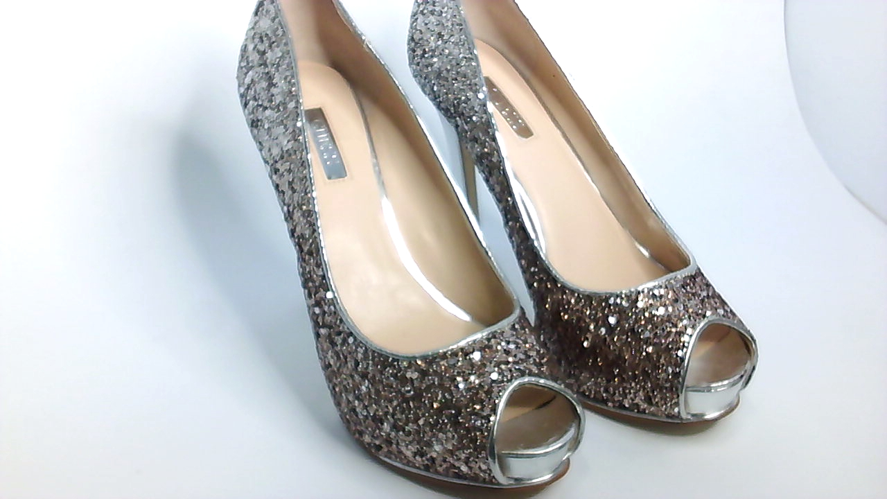 Style & Co. Womens CECELIE Peep Toe Wedge Pumps Silver Size 8.0 YpXR