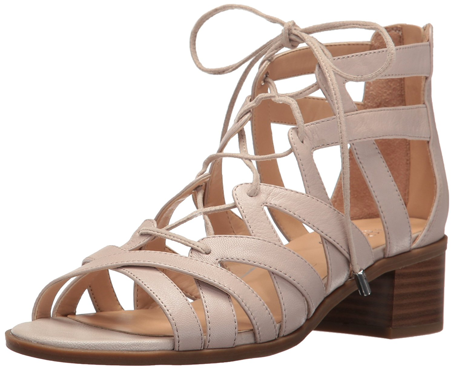 Franco Sarto Womens Ocean Leather Open Toe Casual Strappy Satin Taupe Size 90