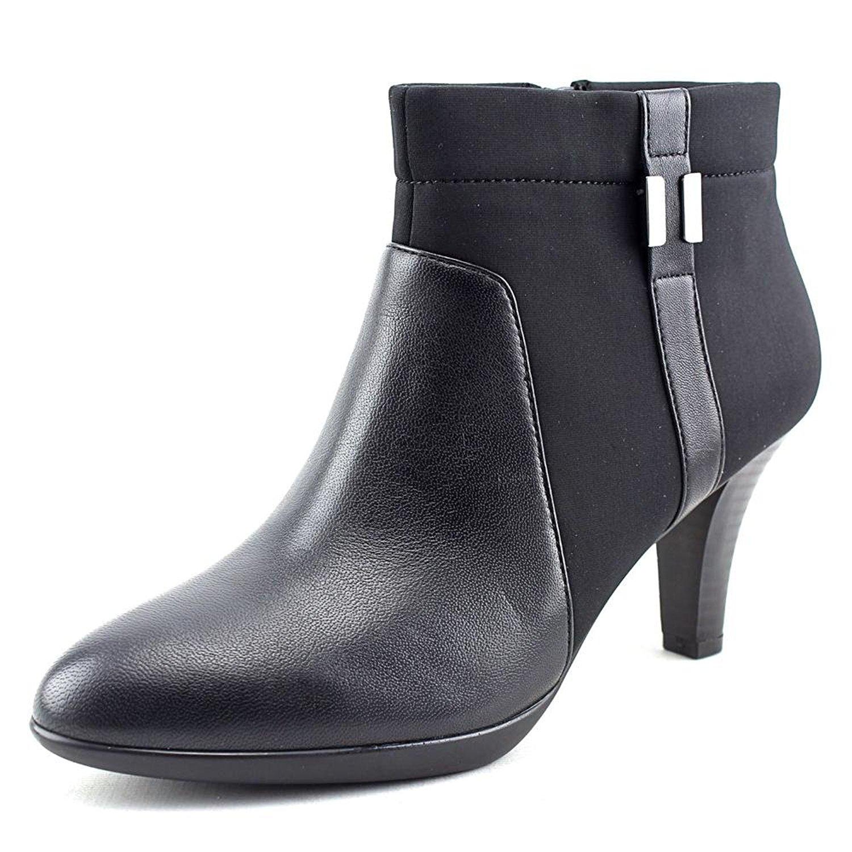 Alfani Venah Women Round Toe Canvas Black Ankle Boot, Black, Size 10.0 iKxk