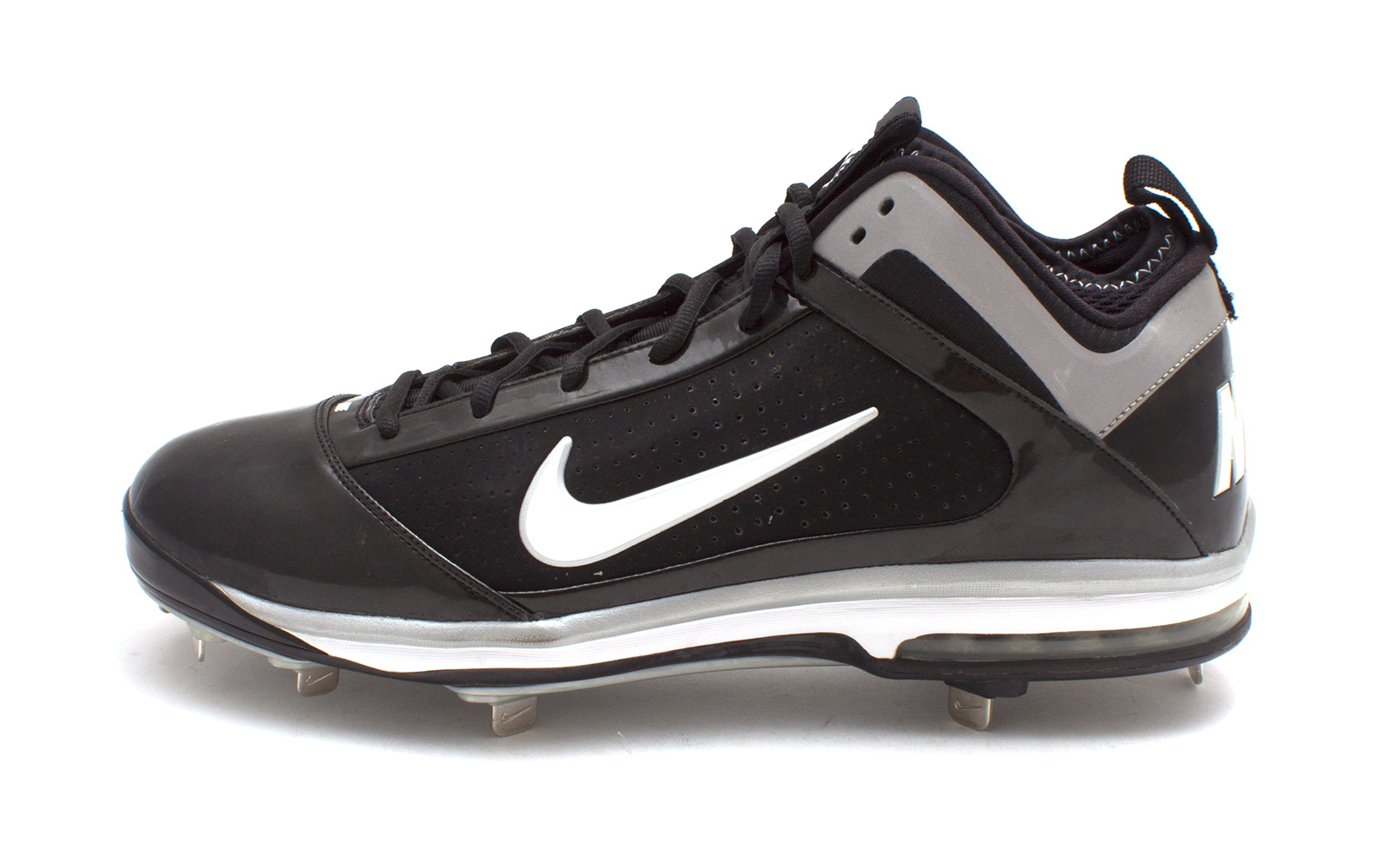huge discount 6a992 ae6ef Details about Nike AIR MAX DIAMOND ELITE METAL 15 Mens Athletic Shoes Black  WHITE  SILVER 15