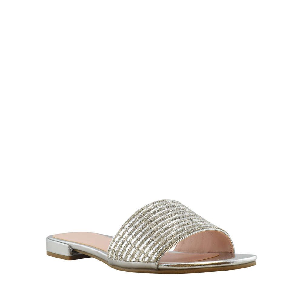 Chinese Laundry Womens Philippa Open Toe Casual Slide Sandals Silver Size 80