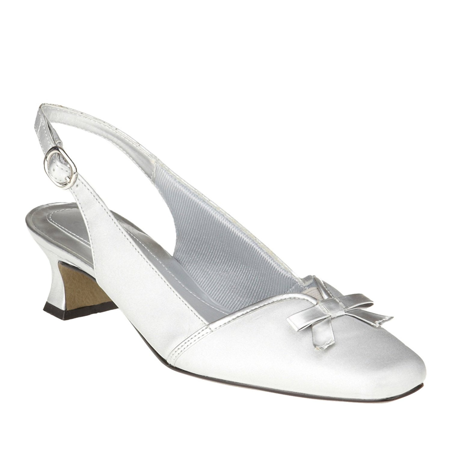 Easy Street Womens Incredible Closed Toe SlingBack Classic Silver Size 6.5