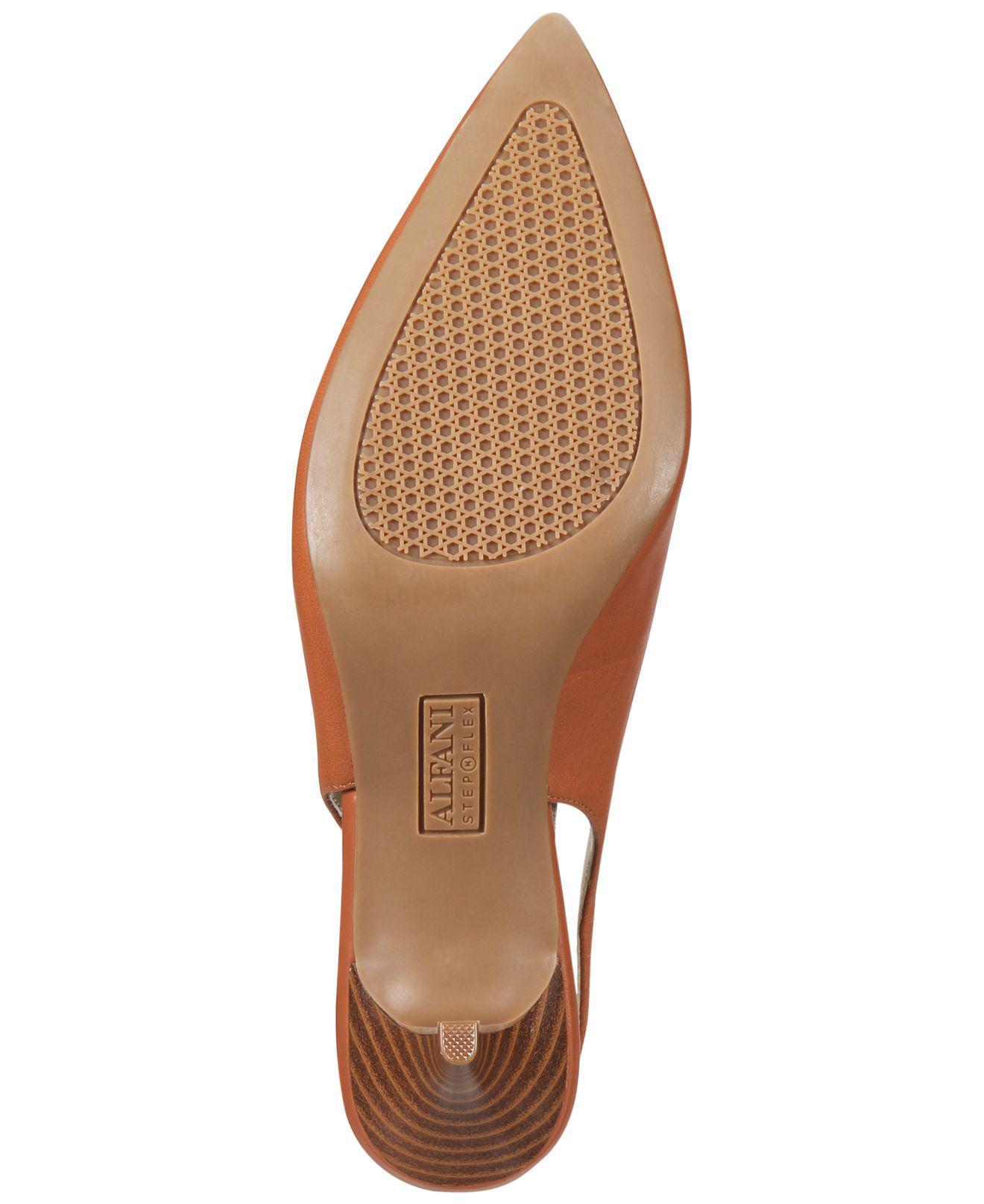 54f92ec46c2 Alfani Womens Babbsy Leather Pointed Toe SlingBack Classic