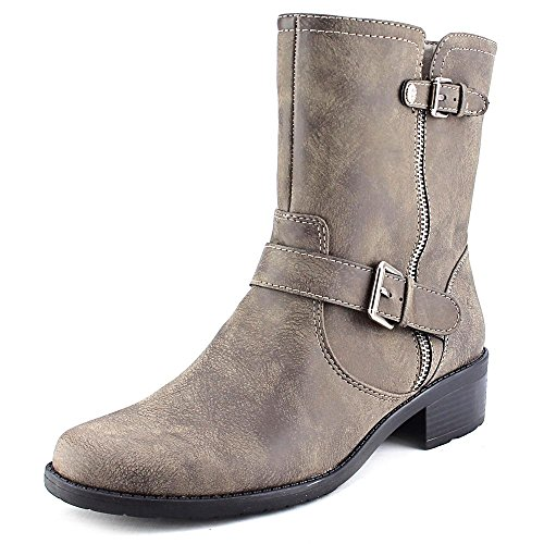 Anne Klein Leeder Women Round Calf Toe Synthetic Tan Mid Calf Round Boot, Taupe, Size 5.0 a00242