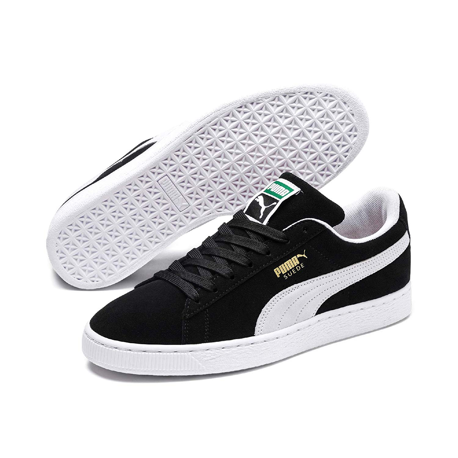 Details about Puma Mens Suede Black Sole Leather Low Top Lace Up,  Black/White, Size 9.0 PMhK
