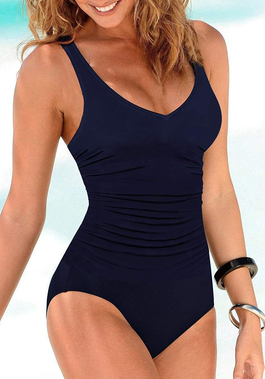 Upopby Womens One Piece Swimsuit Tummy Control Padded Athletic Training Swimwear V Neck Slimming Bathing Suit Plus Size