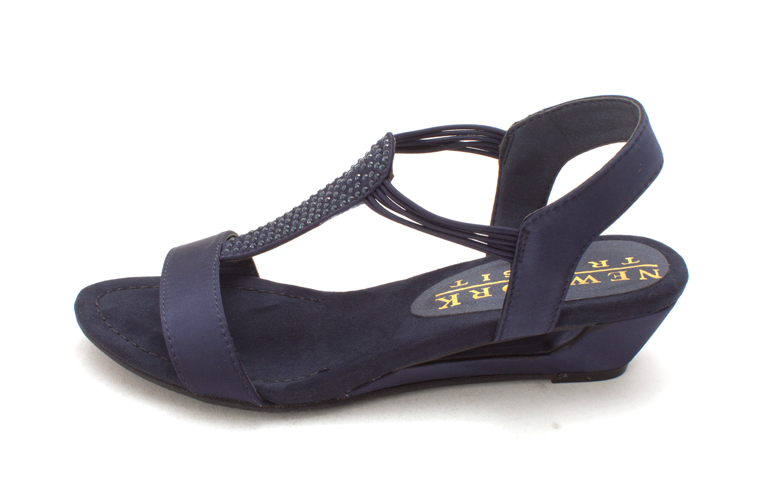New York Transit Womens add me Fabric Open Toe Casual navy satin Size 60