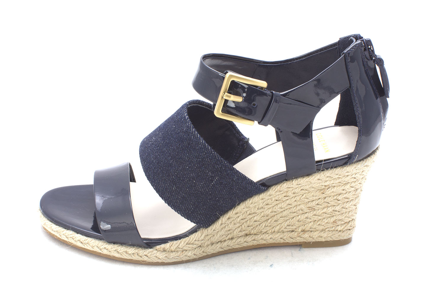Cole Haan Womens Eletasam Open Toe Casual Espadrille Dark Blue Size 60