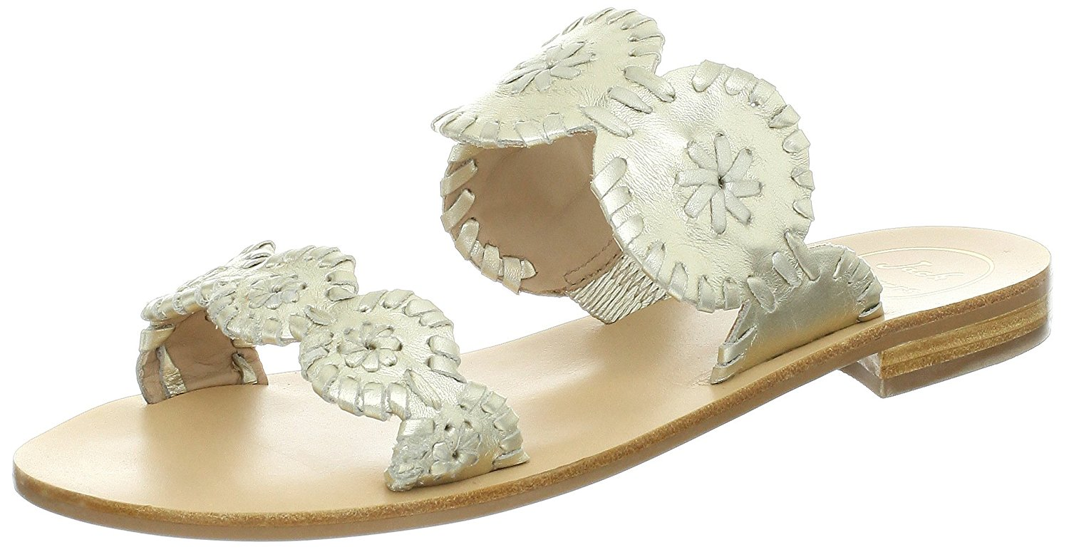 Jack Rogers Womens Lauren Open Toe Casual Slide Sandals Platinum Size 50