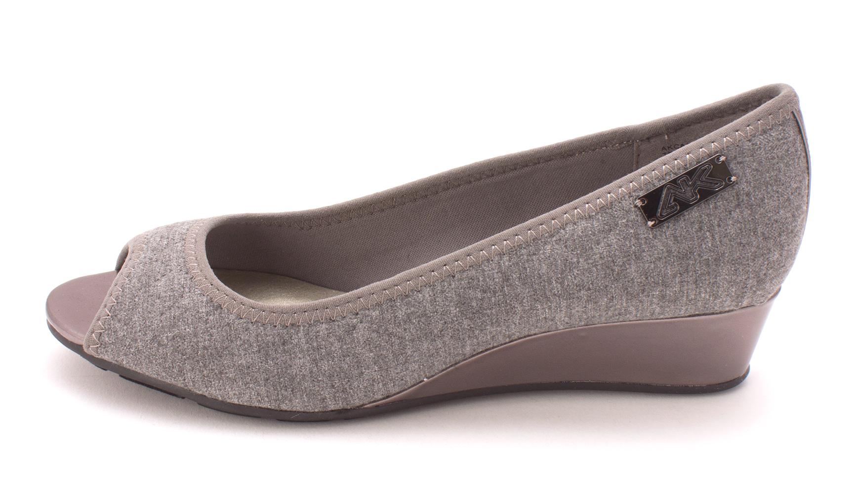 Anne Klein Womens Camrynne Peep Toe Wedge Pumps Grey Size 6.0