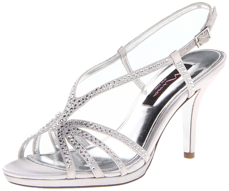 Nina Womens Bobbie Open Toe Special Occasion Slingback Silver Satin Size 5.0 e